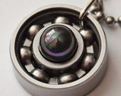 Black Shell Pearl Roller Derby Skate Bearing Pendant Necklace