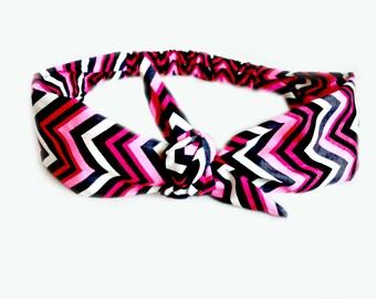 Chevron Tie Headband Bow Tie Head Scarf, Rockabilly Vintage Inspired Hair Band Scarf