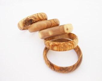 Wooden bracelet set / Olive Wood Bangles Set / Gift for Her / Girlfriend Gift / Birthday Gift