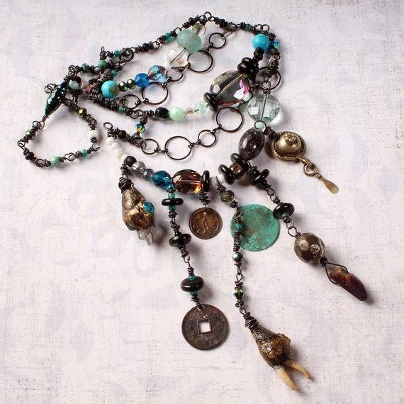 Tribal Beadwork Necklace. gypsy charms, primitive wirework, ethnic jewelry, Statement necklace, belly dance necklace. OOAK