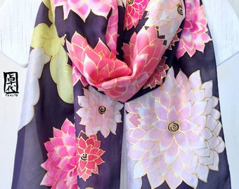 Large Silk Scarf Hand Painted Pink Kimono Dahlias, Black Floral Scarf, Japanese Scarf Black, Approx 14x71 inches.
