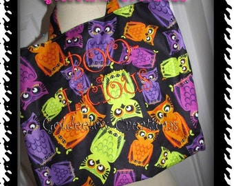 Owls Halloween Trick-Or-Treat Bag Boo-Licious Embroidered Lined-Sale 40 percent off READY TO SHIP