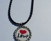 "Beautiful Love with a red heart bottle cap necklace with 18"" to 20"" black leather braided necklace"