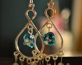 Blue Rose and Freshwater Pearl Chandelier Earrings