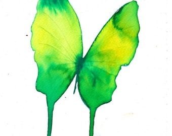 spring green and yellow butterfly  original watercolour and ink painting 27 x 17.5 cm.