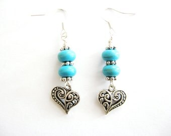 Turquoise and Hearts Beaded Earrings