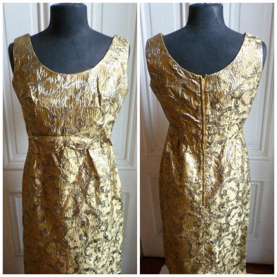 Vintage 60s Gold Brocade Maxi Dress - M/L