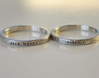 Sterling Silver Personalized hand stamped name rings with date, Baby name rings with birth date, Stackable name rings, remembrance ring
