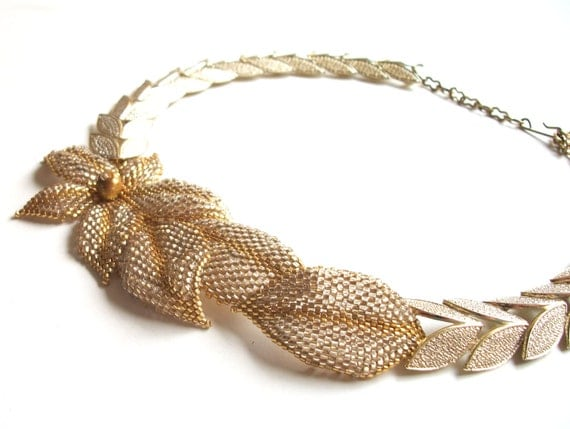 Necklace - Asymmetrical Beadwoven Golden Flowers & Leaves