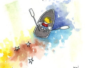 Starry Waters . Boating . Paddle . Childrens Decor Art