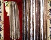 "DREADLOCKS brown blonde highlights DREAD FALL 112 dreads 60cm/ 24"" Steampunk hair piece Medieval Renfaire extensions Woodland Fairy Elf hair"