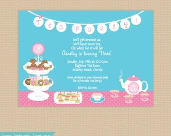 Tea Party . Invitation .Birthday Party . Any Colors