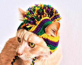 Mardi Gras Cat Costume -  Hand Knit Mohawk Cat Hat