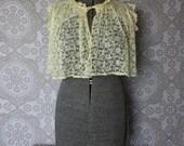 Vintage Lemon Yellow Peignoir Cropped Jacket Large