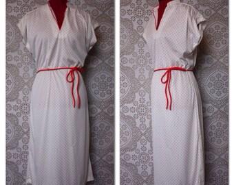 Vintage 1970's 80's White and Red Polka Dot Day Dress Medium