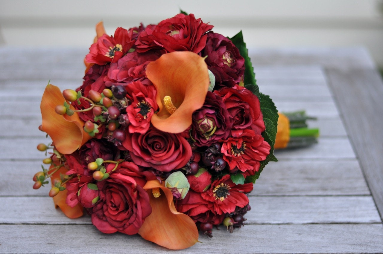 Wedding Flowers Roses And Lilies : Vibrant fall wedding bouquet keepsake bridal