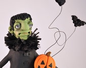 Frankenstein Monster Polymer Clay Halloween Art Doll Figurine - APieceofLisa