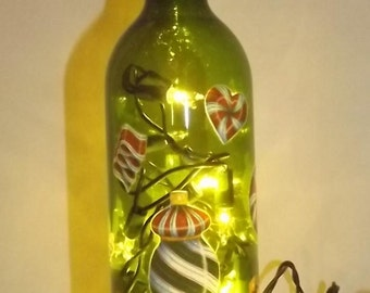 SALE- PEPPERMINT DELIGHTS Glass Bottle Accent Bar/ Table Lamp/Light-Great Gift Idea