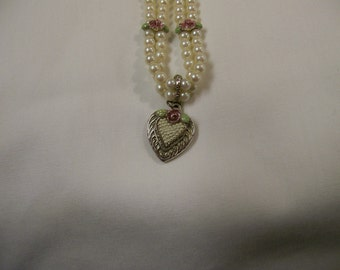 Faux Pearl Heart Necklace 1928 Double Strand with Silver Rose Heart Jewelry Costume Valentines Day