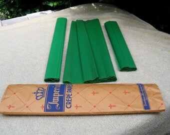 Vintage 1940s Package Deep Emerald Green Imperial Crepe Paper by Dennison 4 LONG Pieces for Projects Parties