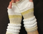 White knit gift for women Fingerless For Weddings Gift for her Hand Knit Mittens with upcycled linen, cotton and viscose