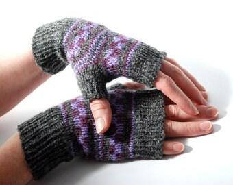 Grey Knit Mittens, Hand Knit Mittens, Wool Knit Mittens, Knit Mittens, Grey Mittens, Grey Knit Mittens