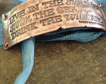 Copper Ribbon Wrap Bracelet with Emerson Quote, Live in the Sunshine Swim the Sea Drink the Wild Air, Ocean Jewelry, Gift for Her