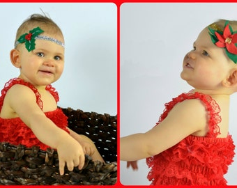 Christmas Holly and Poinsettia Headbands - Photographer Deal Felt Holiday Gold Silver Glitter Newborn Photo Prop