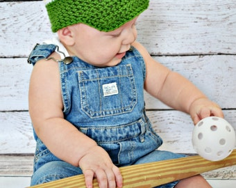 Striped Newsboy Cap Hat Newborn Photo Prop Baby Boy Chic Kelly Green White Mustard Yellow Stripes Sizes 0-3 Months 3-6 Months 6-12 Months