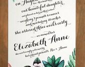 Floral Birth Announcement (White Garden Bouquet) - Birth Story Announcement