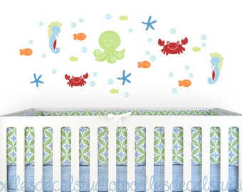 Sealife Nursery Kids Reusable Fabric Wall Decal Stickers