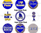 INSTANT DOWNLOAD Dragons Blue Gold  School Mascot 1 inch circle Bottlecap Images