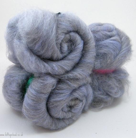Carded Batt- Blue Spinning Fiber-  Shetland, Tussah Silk 100g 1693
