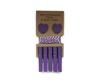 Mini Clothespins with Twine and Heart Tack - Purple. Art Display. Photo Display. Clothespin Clothesline.