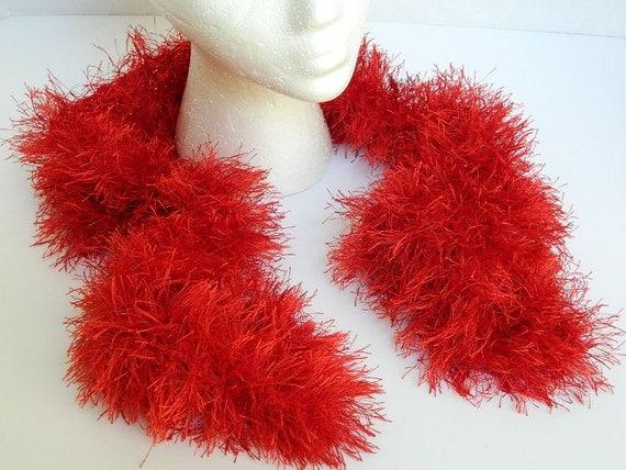 Red Eyelash Yarn Scarf Hand Knit Accessories Girls Red