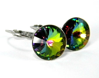Absinthe Leverback Earrings  Vitrial Medium Swarovski Crystal Rivolis  Green, Blue, Pink  Hypoallergenic Stainless Steel  Mystic Topaz