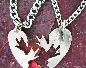 ASL I Love You Necklaces, relationship necklace, couples, heart half dollar, hand cut coin