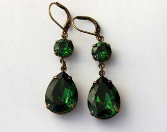 Swarovski Moss Green earrings, swarovski earrings, double earrings, swarovski earring, dark green earrings, Bridesmaid earrings - ys14
