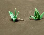 "Origami Paper Crane earrings 3/4"" green"
