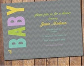 modern baby shower invitation, grey, gender neutral, coed couples shower, digital, printable file (item70)
