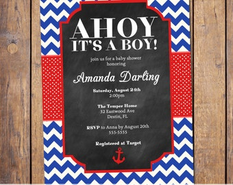 Nautical Boys baby shower invitation, modern,red and blue, chevron, ahoy its a boy, digital, printable file (item351)