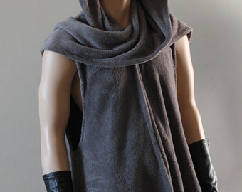 Hooded Swing Cape Vest Coat