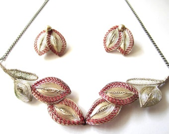 Beautiful Vintage Wire Wrapped Necklace and Clip Earring Set-  Made in Germany