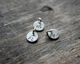 ADD INITIAL CHARM Tiny Sterling Silver Initial Charm - 6mm