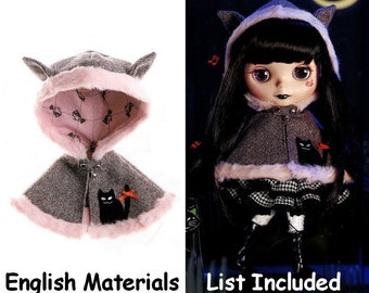 Blythe Kitty Ears Cloak Hooded Cape Pattern PDF English templates names, English Materials List , Sewing info included