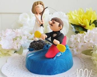 Custom Wedding Cake Topper- Bride is trying to catch groom by fishing rod