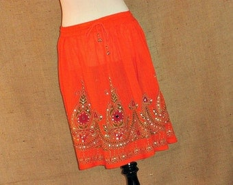 Mini Skirt: Tangerine Orange Flowy Bohemian Indian Gypsy Boho Floral Sequink Skirt Crinkle Cover Up