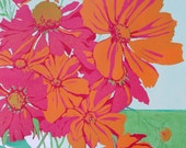 Orange Cosmos, original linocut print done in vibrant colors