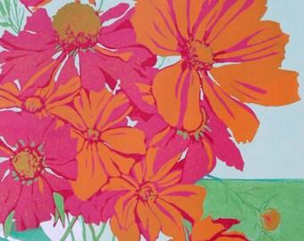Orange Cosmos, original linocut print done in vibrant colors