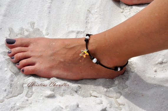Leather and Pearl Anklet with Swarovski Crystal Starfish - Pearl and Leather Jewelry Collection
